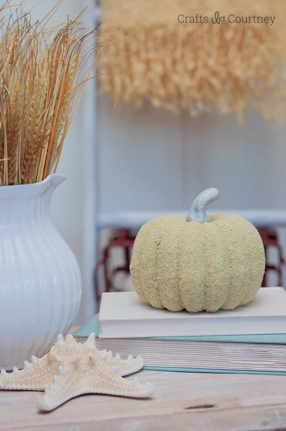 Coastal Fall Decor: Sand Pumpkins