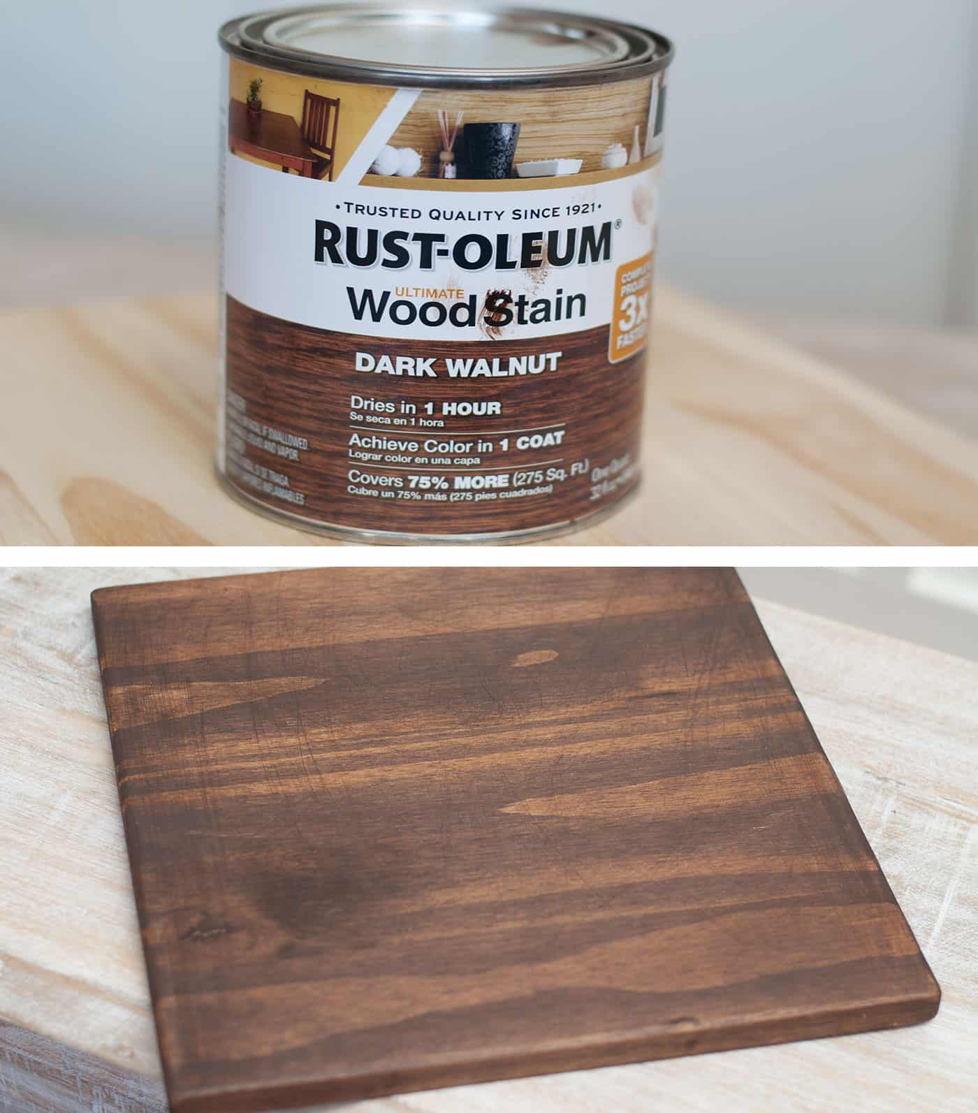 can of Rust-oleum wood stain in dark walnut and a stained piece of wood