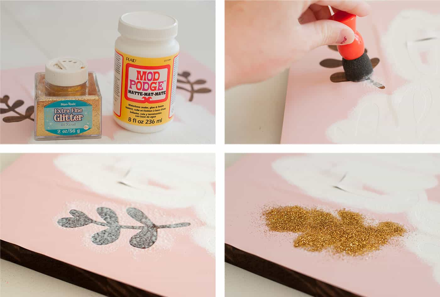 Add Mod Podge and glitter to a give thanks Thanksgiving sign