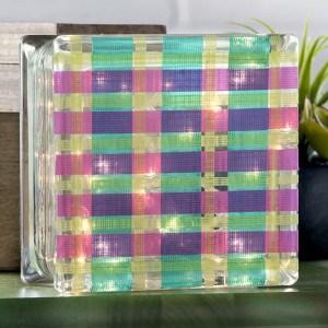 Glass block crafts: plaid lamp