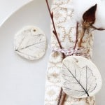Pretty clay leaf tags for a fall tablescape
