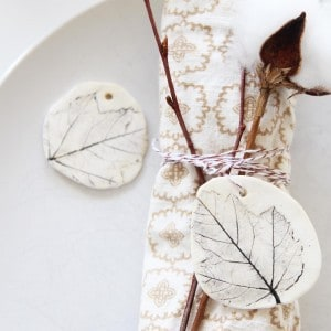 These pretty clay leaf charms look so elegant and simple on your Thanksgiving table, but can also be used for a Christmas ornament later.