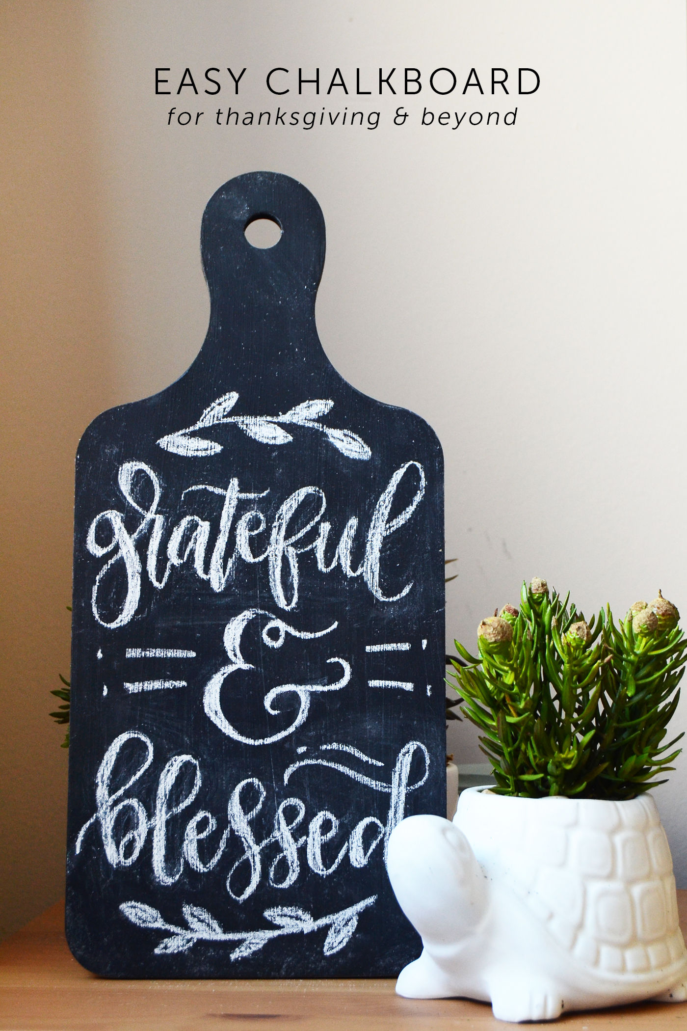 Use an MDF breadboard to make this unique DIY chalk board. Perfect for writing messages for Thanksgiving and other holidays - or even every day!