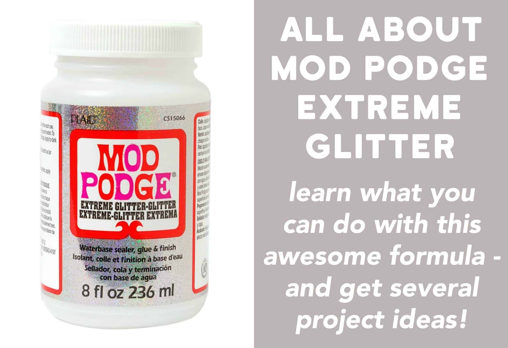 Learn all about the Mod Podge Extreme Glitter formula! Find out what it is, how to use it, and see some unique projects you can make.
