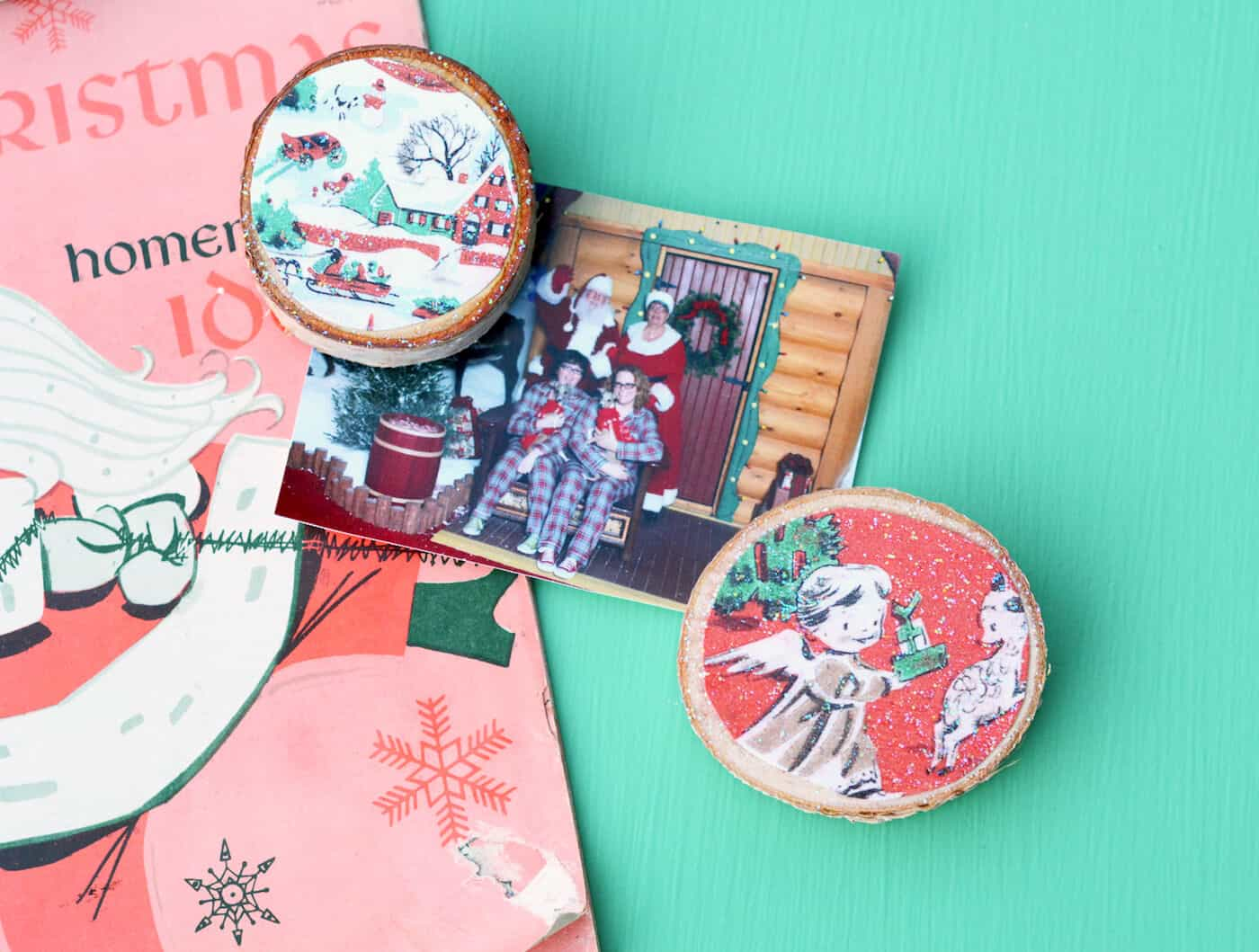 DIY Christmas card magnets using wood slices