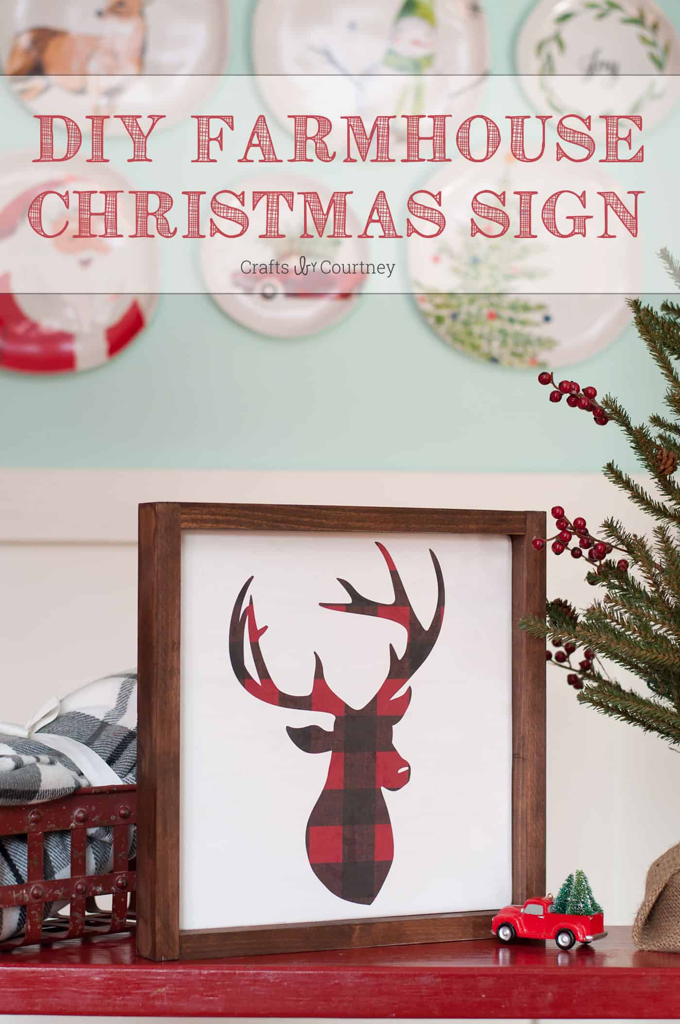 This unique plaid deer Christmas sign will fit in perfectly with your farmhouse holiday decor! Use scrap wood and your favorite paper patterns to make it.