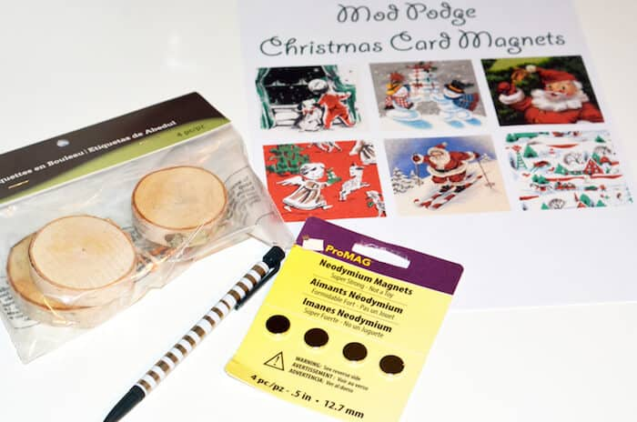 Wood slices, vintage Christmas printable, magnets, and a mechanical pencil
