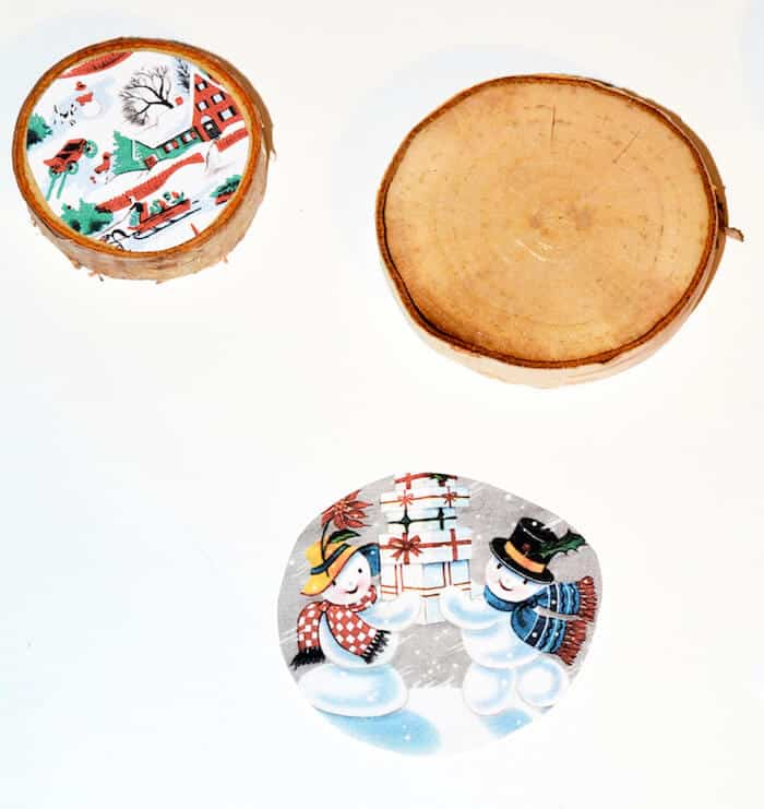vintage Christmas images and wood slices