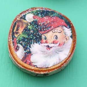 Wood slice vintage Christmas card magnet...