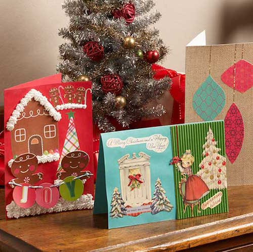 Handmade holiday greeting cards with Extreme Glitter Mod Podge