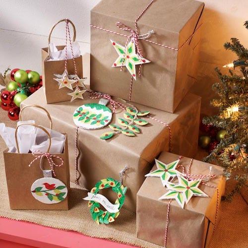 Cardboard gift tag ornaments