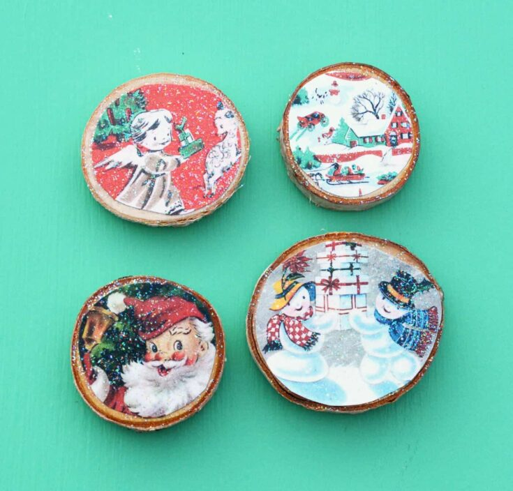 Wood Slice Vintage Christmas Magnets From Cards