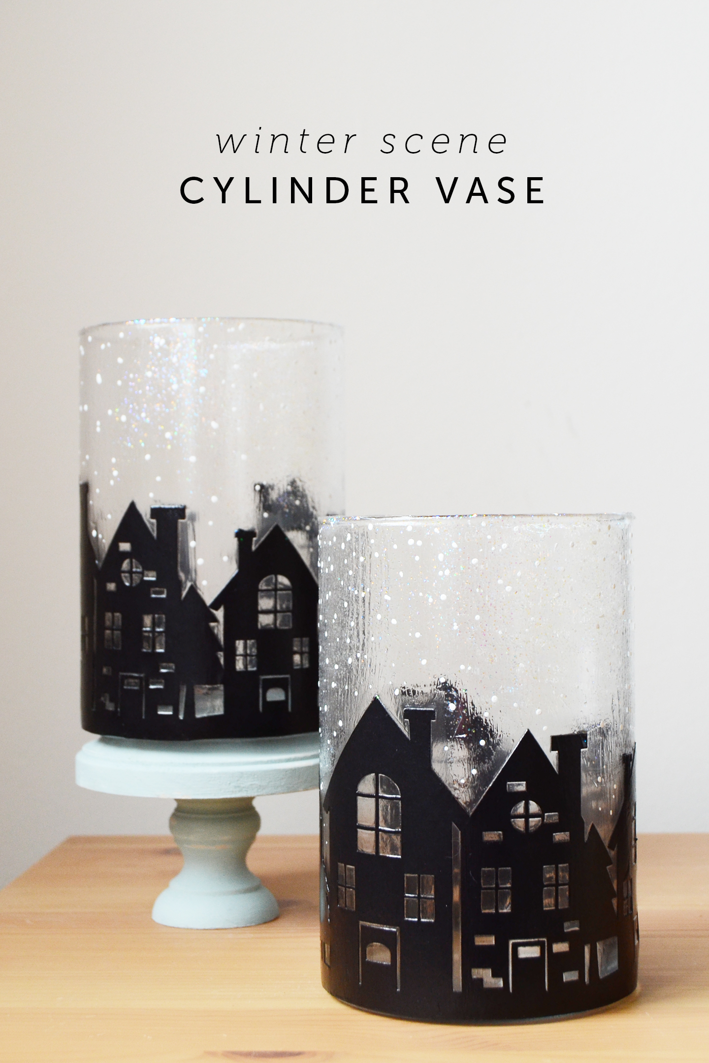 Create this unique vase decor with a silhouette winter scene! Perfect for a holiday mantel or for gifting along with some baked goods. Easy to make!
