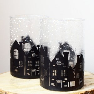 Winter scene cylinder vase decor