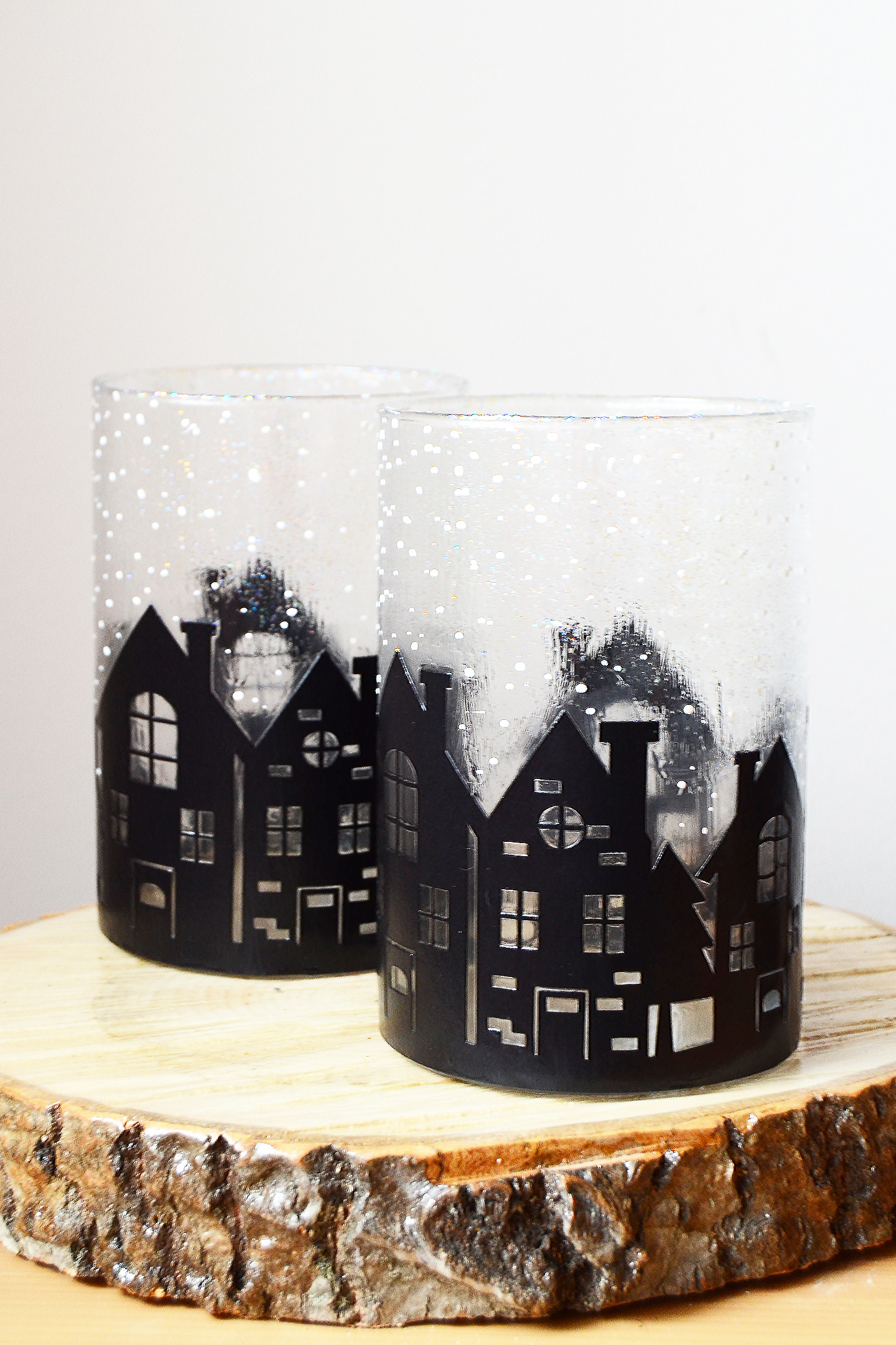 create this unique vase decor with a silhouette winter scene perfect for a holiday mantel