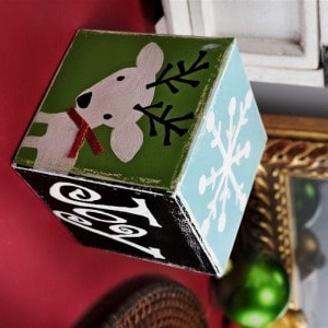 Painted DIY Christmas block