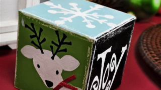 Hand Painted DIY Christmas Block