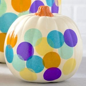 If you are looking for simple no carve pumpkin ideas, try this confetti option with Mod Podge. So easy even a kid could do it!