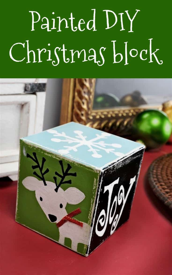 Painted wood Christmas block decor