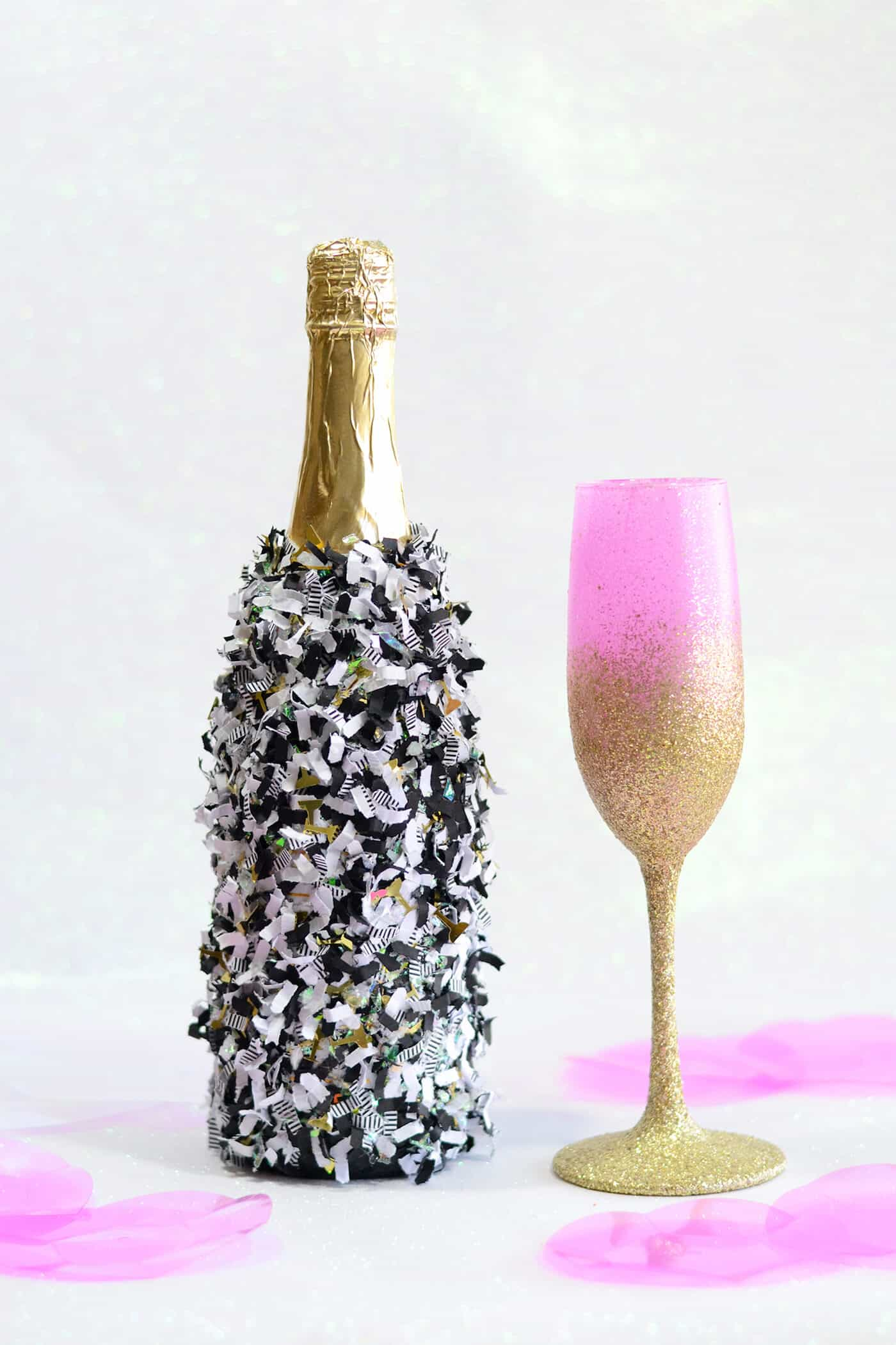 Glitter Mini Champagne Bottles - for Party or Wedding! - Mod Podge Rocks