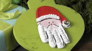 Handprint Santa Ornament for Kids