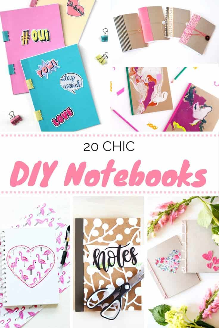 Get organized and get stylish with these 20 ideas for DIY notebooks! How will you make your notebook pretty? These will inspire you!