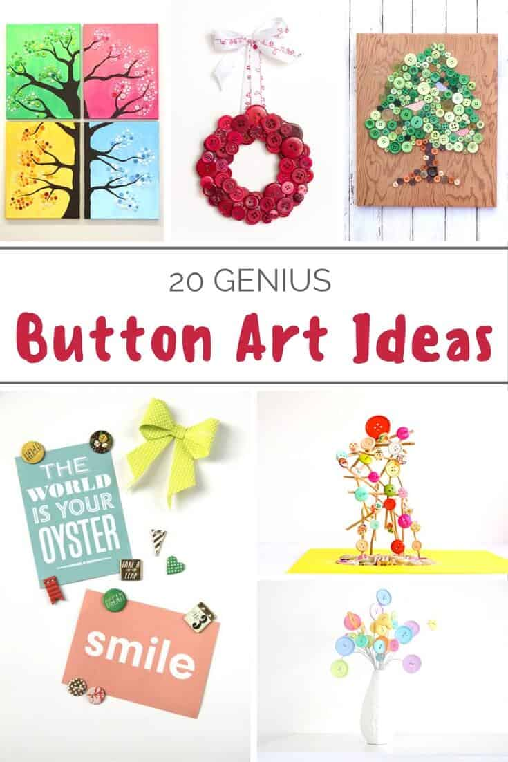 Buttons can be used for much more than clothing! Use them to make button art for your home - here are 20 ideas. These are so easy!