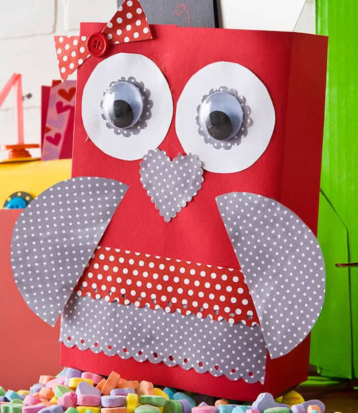 Make a valentine owl out of a cereal box
