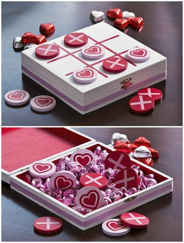 This cute DIY Valentine's Day tic tac toe game was made using a wooden box, Mod Podge, and other supplies from the craft store. Makes a great gift! Fun for a kid - perfect size for taking on road trips.