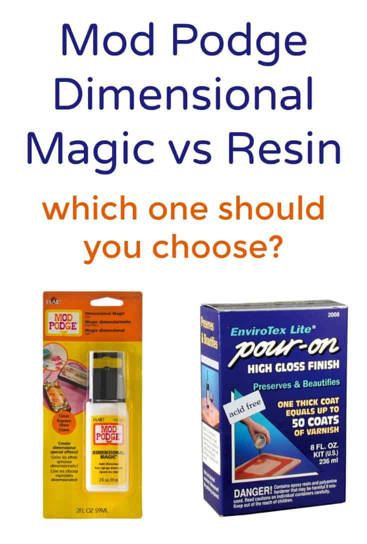 Mod Podge Dimensional Magic vs resin - which one should you pick? Find out the differences and what projects we recommend using for each.