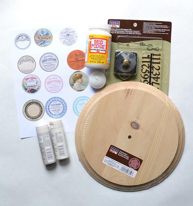 Parts to make a DIY wall clock