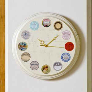 Distressed vintage label DIY wall clock