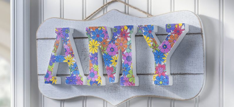 Coloring book DIY name plaque