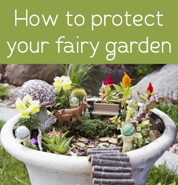 If you've spent time on your fairy garden, you'll probably want to protect it from the elements! Here's my secret ingredient for making it last.