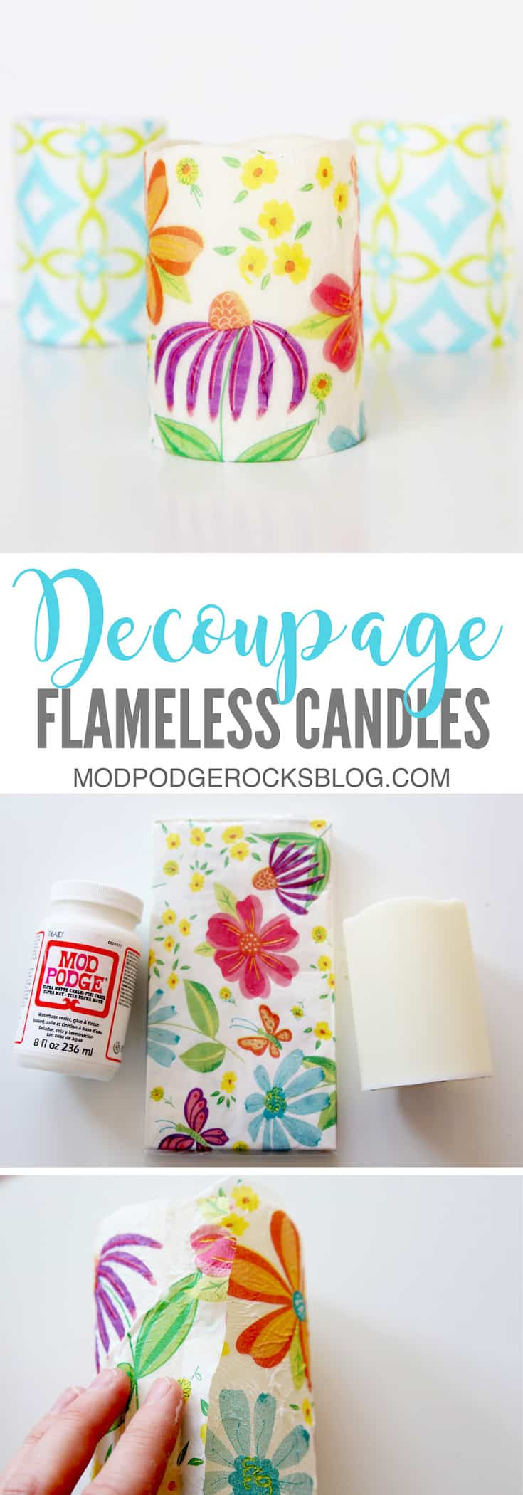 Make these easy decoupage candles with just a few materials from the dollar store, including Mod Podge and napkins. They can be customized for any occasion.