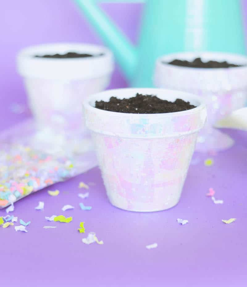 These terracotta plant pots are unicorn inspired, with iridescent cello wrap applied with Mod Podge and confetti. Perfect for parties!