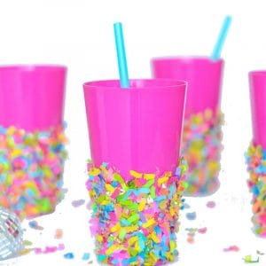 Confetti dipped DIY party cups