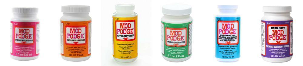 Rainbow bottles of Mod Podge