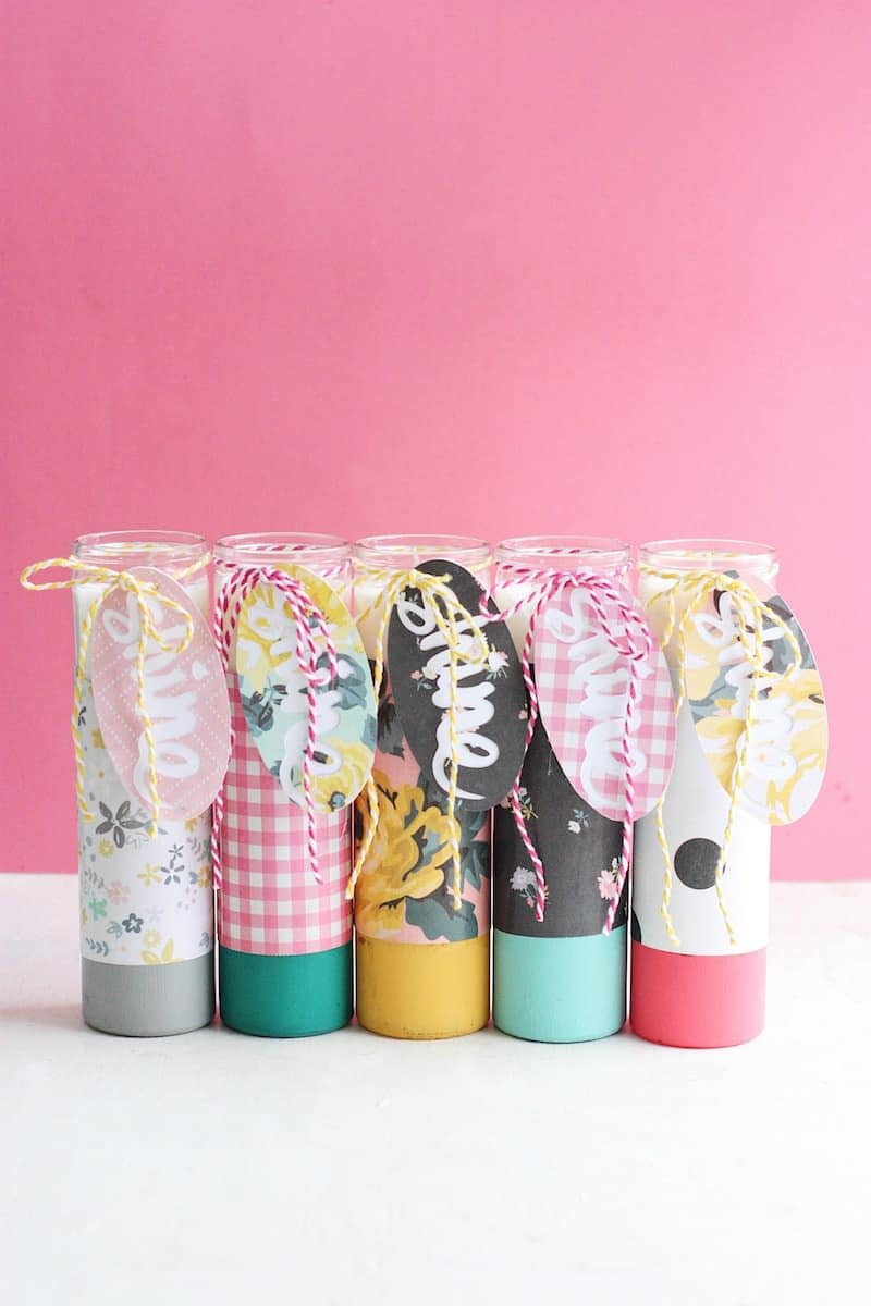 These paper-wrapped and paint-dipped candles use the power of Mod Podge to bring some springy life to some boring, dollar store candles.