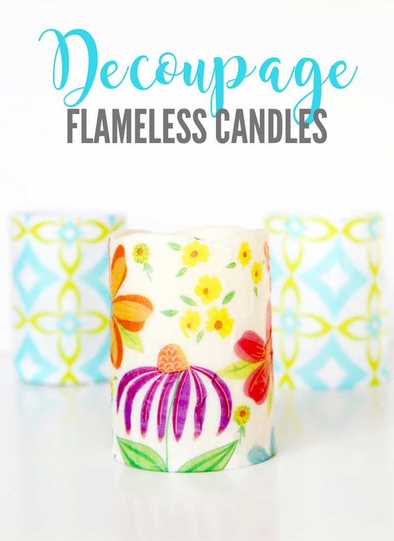 Make these easy decoupage candles with just a few materials from the dollar store! They can be customized for any occasion.