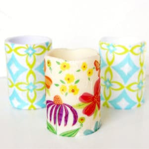 Floral decoupage candles with napkins