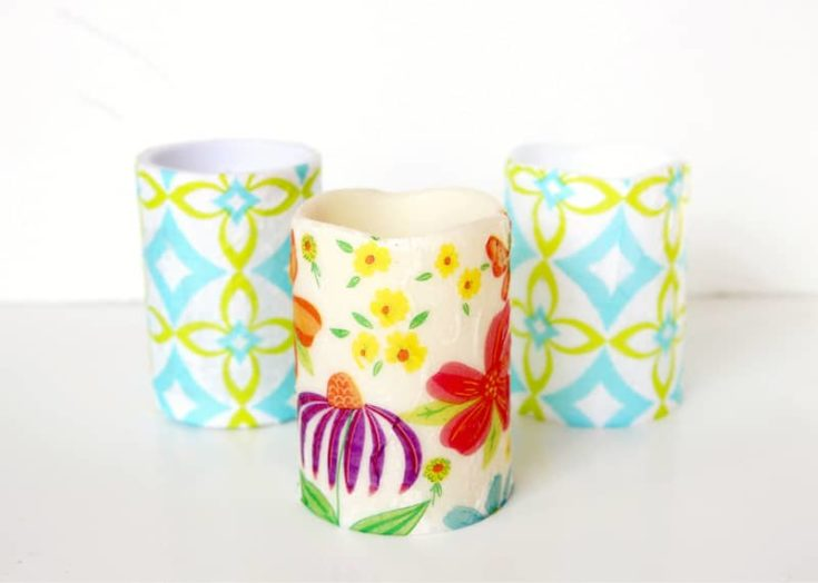 decoupage candles with napkins