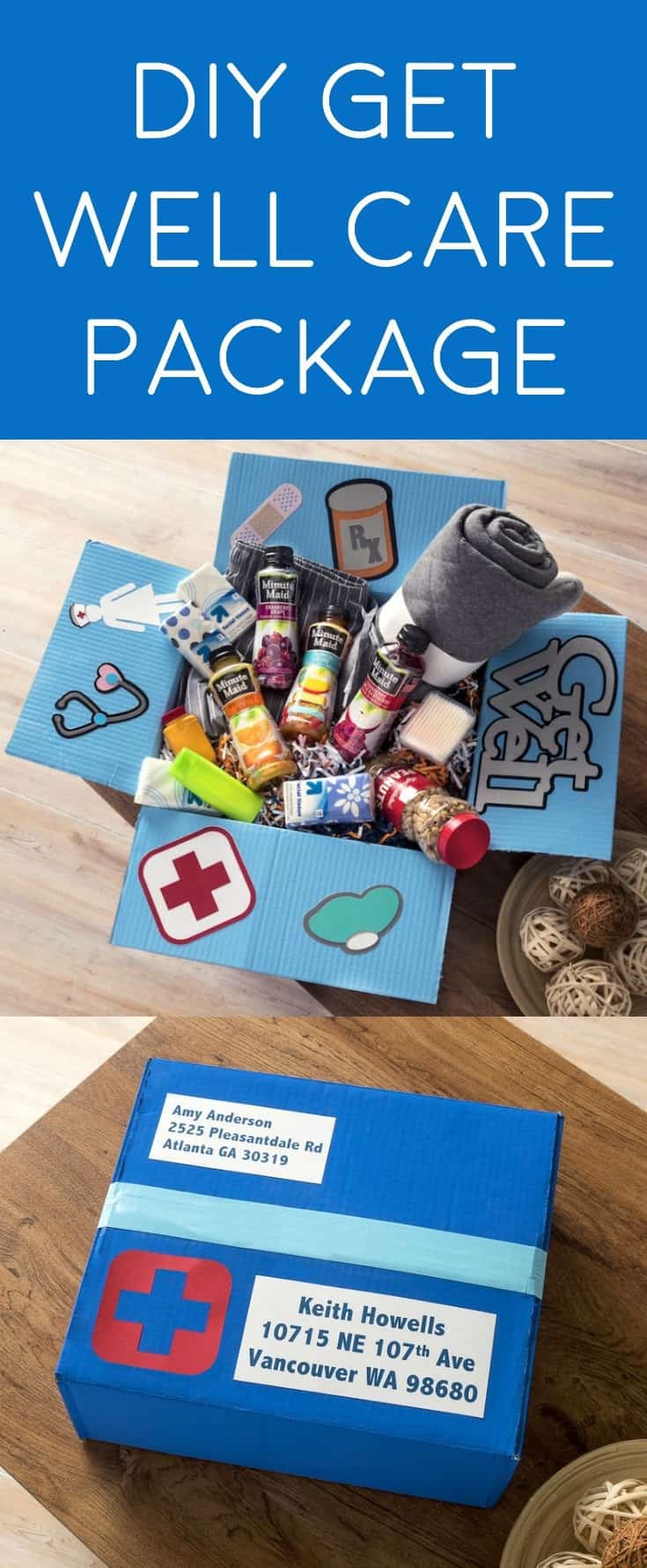 Learn how to make a fabulous get well care package for a friend or family member that is sick or had surgery. Fill it with items they love!