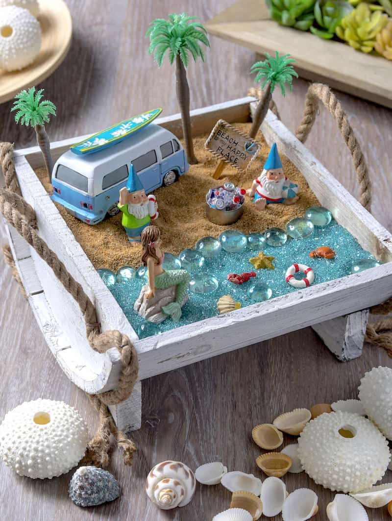 How to make a beach fairy garden mod podge rocks for Design your own beach house