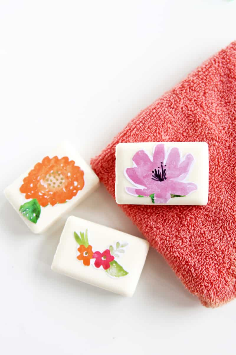 This decoupage soap is easy to make for a gift idea or wedding favor. The Mod Podge keeps the design from washing off when you suds up!