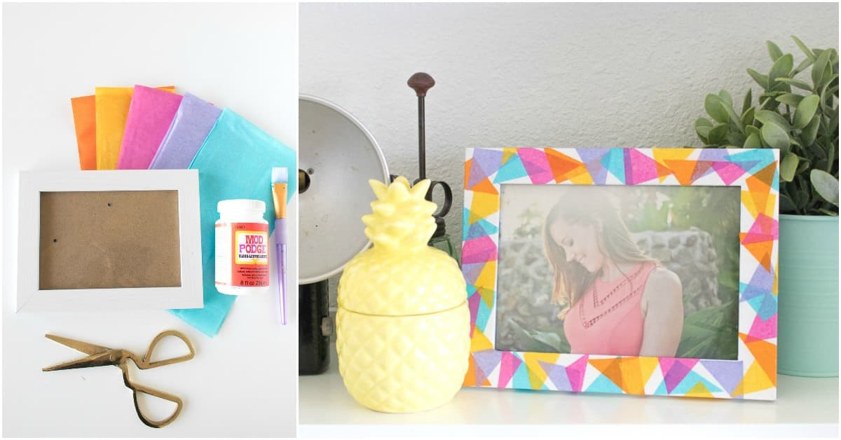 Colorful Geometric Tissue Paper Frame Mod Podge Rocks