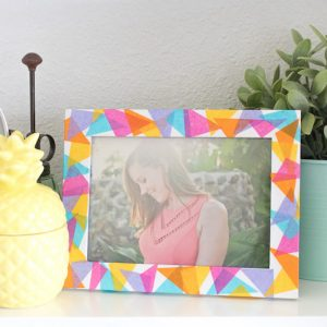 Colorful geometric tissue paper frame