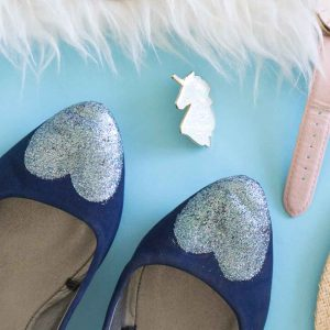Easy glitter heart decoupage shoes