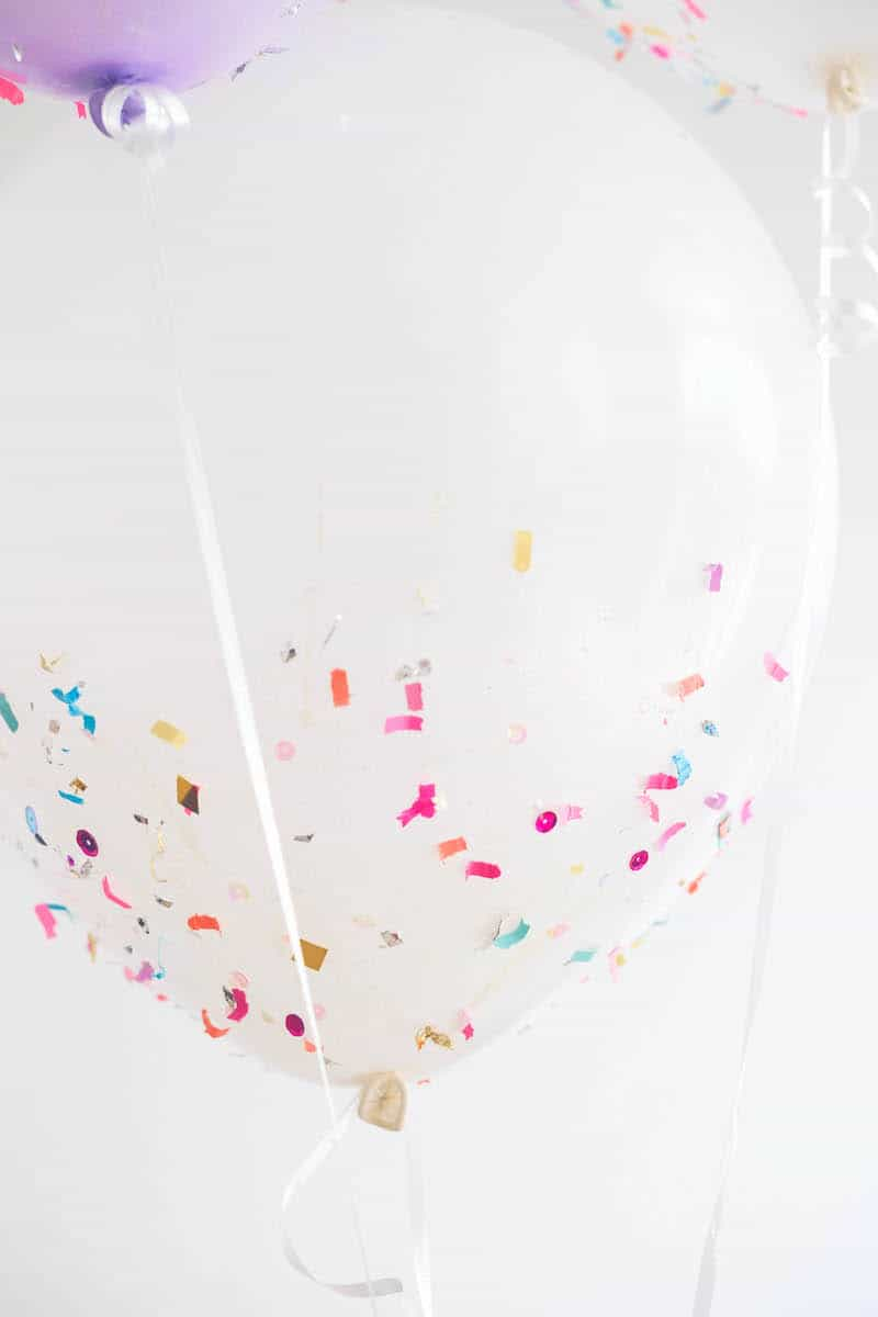 close up of balloon confetti