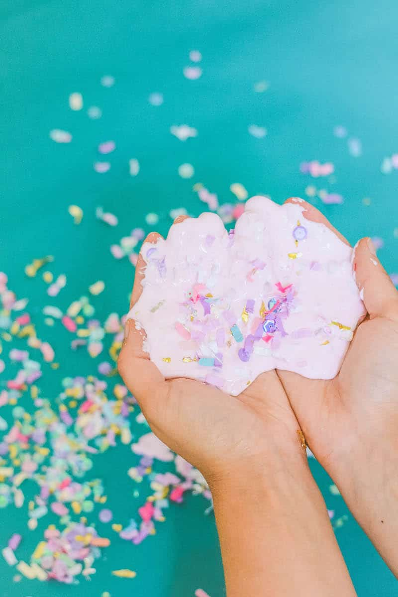 Make Mod Podge slime without Borax! This easy Mod Podge slime recipe uses a few household ingredients. Make it fun with colorful confetti!
